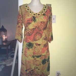 BCBG Dress with very flattering beadwork & pattern